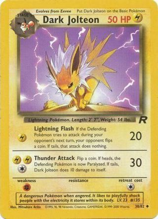 1 Dark Jolteon - 38/82 - Uncommon Unlimited Team Rocket Unlimited Single Pokemon Cards TCG