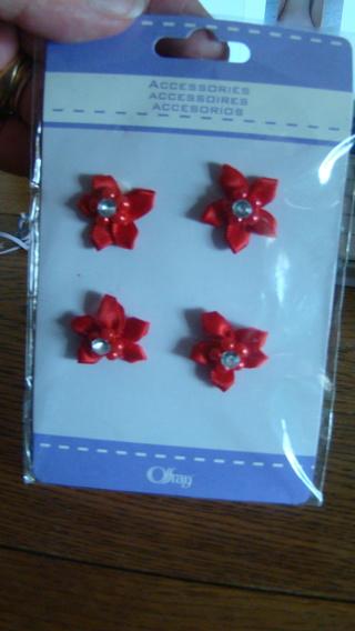 pretty red  rhinestone florettes