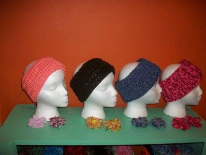 4 sets Headbands/ear warmers w/ flowers
