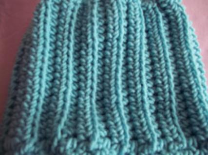 Crocheted Ribbed Light Green Messy Bun Hat