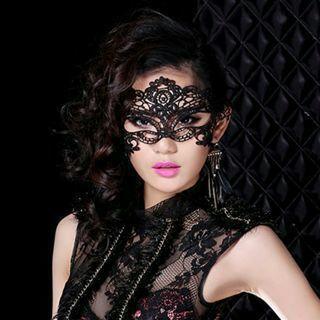 2Pcs Sexy Black Lace Venetian Mask Masquerade Ball Prom Halloween Costume Fancy Dress