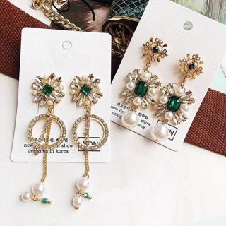 MENGJIQIAO 2018 New Europe and America Vintage Crystal Flower Dangle Earrings For Women Rhinestone
