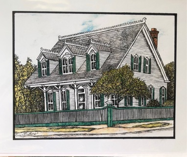 "McFarlane Residence, Richmond Tx.  -  5 x 7"" art card by artist Nina Struthers - GIN ONLY"