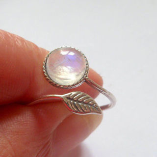 [GIN FOR FREE SHIPPING] Moonstone Sapphire Silver Filled Engagement Ring Adjustable
