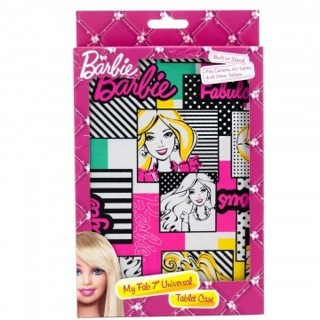 """NEW - BARBIE Themed Universal Tablet Case with Built In Stand for 7"""" Tablets - Cute Design for Girls"""