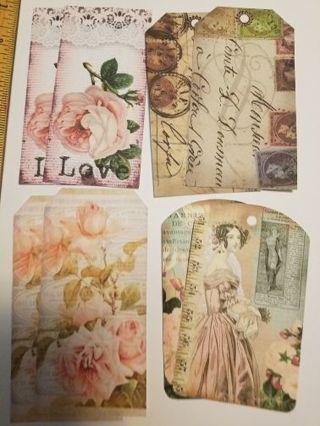 Various Large Vintage Tag Cutouts, 8 pc's, #0110