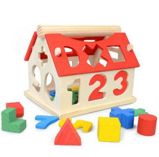 House Toys Building Blocks Intellectual Developmental Baby Wood Kids Educational
