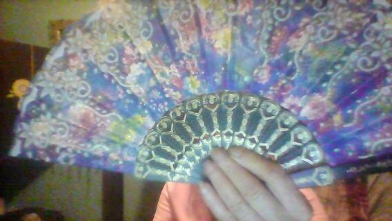 Pink & Blue Folding Fan