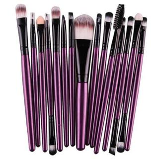 COMPLETE 15 PC Makeup application brush set ~ womens MUST HAVE tools eyes, lips in METALLIC PURPLE