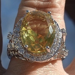 BEAUTIFUL STERLING SILVER GOLDEN CITRINE AND WHITE TOPAZ RING SZ 10 FREE US SHIP! FREE GIFT!