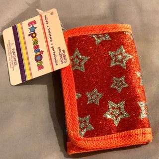 """BNWT """"EXPRESSIONS"""": Express Yourself Red Wallet w/ Stars. (Matching Assessories Set Listed Also)"""