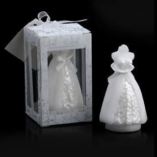2Pcs Elegant Boxed Bridal Bride Shape Candle Wedding Party Favors Decor Pure White