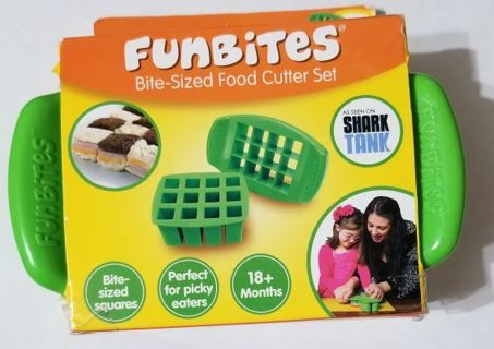 FunBites Bite Sized Food Cutter Set Square Shaped (BPA Free) 18+ months