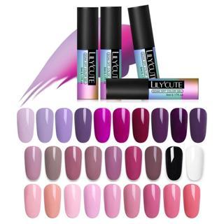 LILYCUTE 5ML Pink Nude Soak Off UV Gel Polish Purple Black White Nail Gel Long Lasting Pure Color
