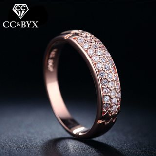 Rose Gold Filled Fine Crystal Rings for Women Fashion Trendy Row Rings Jewelry Party Rings Bijoux