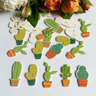 [GIN FOR FREE SHIPPING] 50PCs Mixed Color Pattern Wooden Buttons Cactus