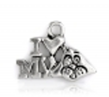 One Antique Silver 'I Love My Dog' 17mm Pendant Charm