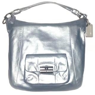 COACH #14783-Large Metallic Silver Full Leather Kristin Duffle!