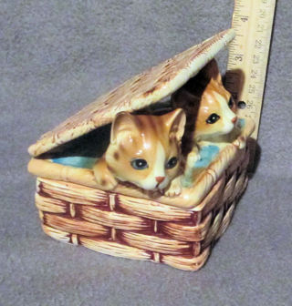 Cats - Kittens In a basket canister ceramic Statue