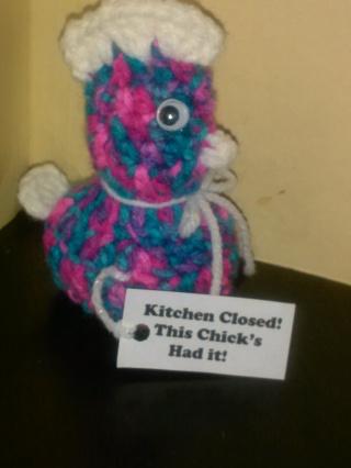 "Crocheted Chicken ""Kitchen Closed"" (B-117)  ""Bon Bon""/White"