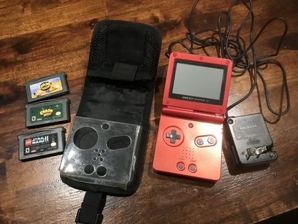 Nintendo Game Boy Advance SP AGS-001 Red Plus Charger and 3 Games