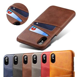 For iPhone 8 X XS Max 7 6 Thin Shockproof PU Leather Case Card Holder Back Cover