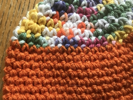 """Crocheted Child's or Baby Hat Orange and Multi Colors """"Makes a Great Gift"""""""