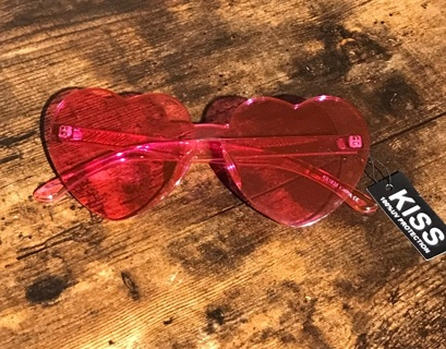 Pink Love Heart New Unisex Womens Mens Sunglasses