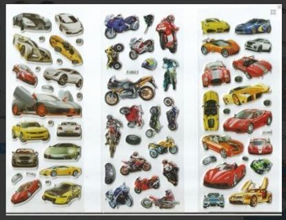 NEW Sports Cars & Motorcycle Puffy Vinyl Stickers Vibrant & Detailed FREE SHIPPING