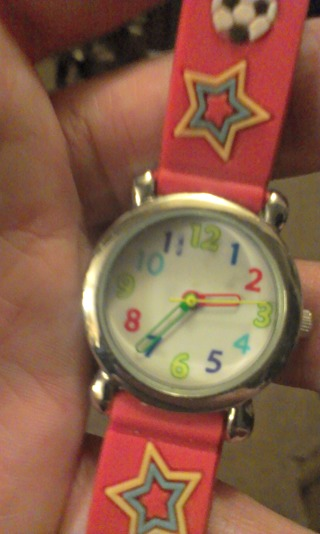 kids soccer watch Great to learn time, Does need a  battery