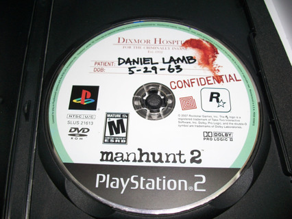 Manhunt 2 (Sony Playstation 2, 2007) disc and manual in acceptable condition