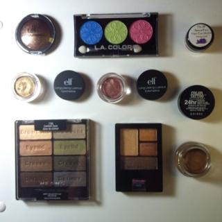 8 eyeshadows, some pallets, golden shades