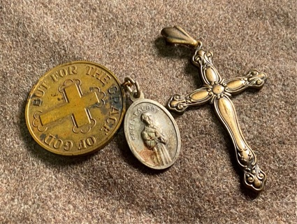Vintage Christian Catholic cross pendant and AA Matt Talbot charms