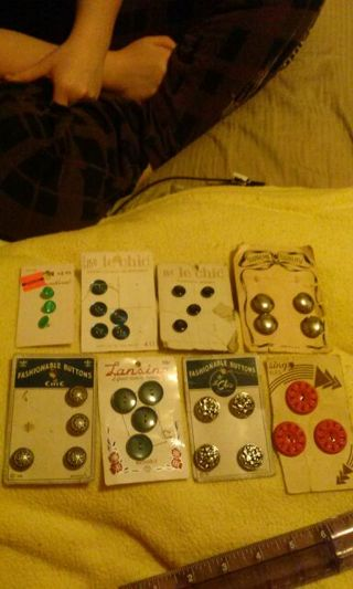 8 cards of Vintage Antique Buttons LOW GIN