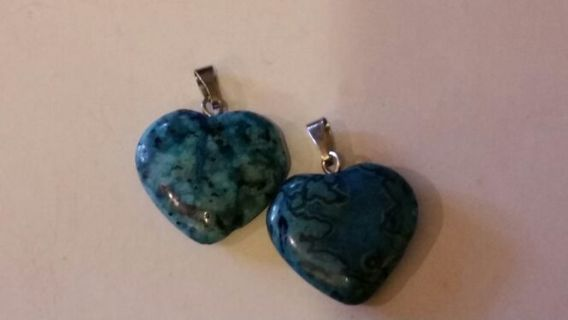 2 Semi-Precious Blue Crazy Lace Agate Heart Shaped Pendant and/or Charm Beads *4 w/ GIN*