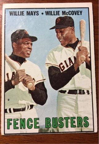 Topps 1967 Fence Busters Willie Mays and Willie McCovey #423