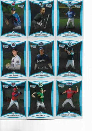 (9) 2008 Bowman Chrome Baseball Rookie Cards