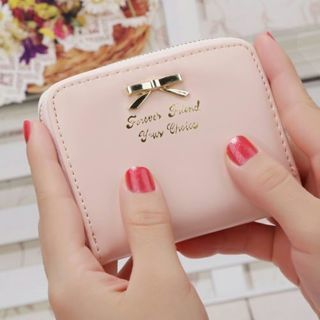Lady Women Fashion Cute Purse Clutch Zip Wallet Short Small Bag PU Card Pink