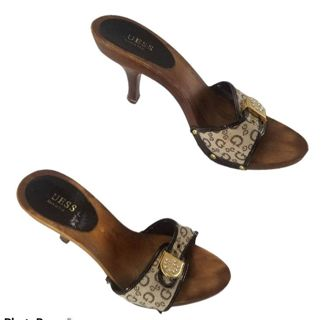 Guess sandals Sz 8 high heels wood Italy free ship