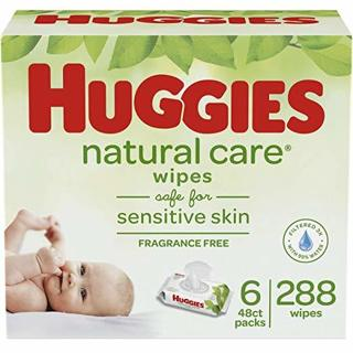 HUGGIES Natural Care Unscented Baby Wipes, Sensitive, 6 Disposable Flip-top Packs (288 Wipes)
