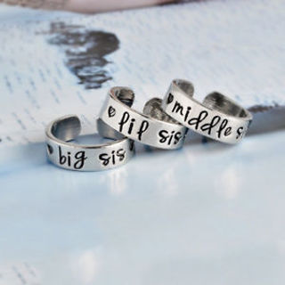 Fashion Opening Rings Big Middle Little Sister Silver Plated Adjustable Rings
