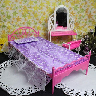 Plastic Miniatures Bedroom Furniture Single Bed for Barbie Dolls Dollhouse