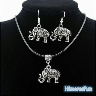 Tibet Silver Chinese Style Elephant Pendant Necklace Earring Hook Jewelry