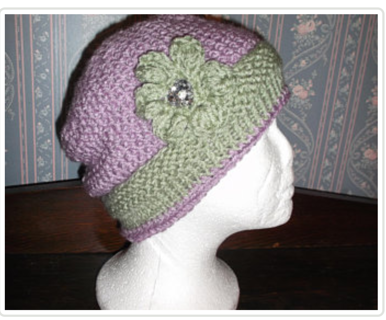 TRENDY PURPLE/SAGE HANDMADE KNITTED/CROCHETED HAT