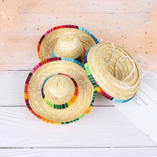 [GIN FOR FREE SHIPPING] Mini Pet Dogs Straw Hat Sombrero Cat Sun Hat Beach Party