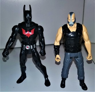 "2014 DC Comics Batman & BANE (villain) plastic action figures - 4"" to 4 1/2"" tall"