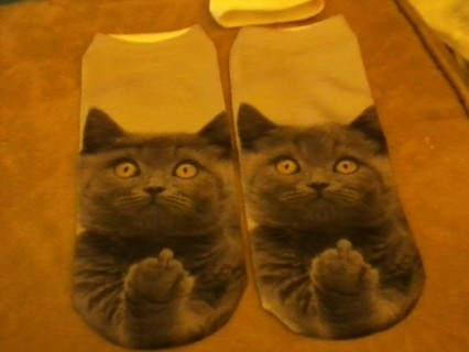 ankle/boat socks kitty with attitude