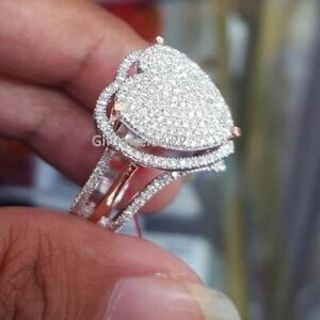 Delicate Women Fashion 925 Silver White Sapphire Heart Ring Wedding LOVE Jewelry