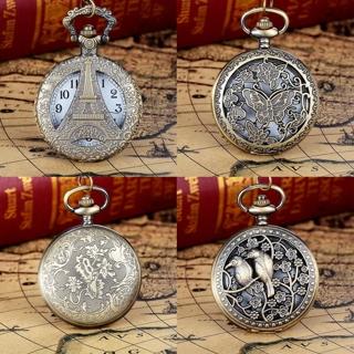 Vintage Steampunk Retro Bronze Pocket Watch Quartz Pendant Necklace Chain Gift