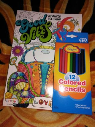 ADULT COLORING BOOK & 12 PACK OF COLORED PENCILS =Free shipping